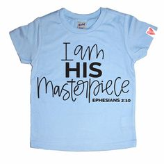 I Am His Masterpiece, Jesus Shirt, Kids Tee, Girls Christian Shirt, Christian Sh… Girls Tees, Shirts For Girls, Kids Shirts, Top Girls, Jesus Shirts, Christian Clothing, Christian Shirts, Christian Apparel, Christian Kids