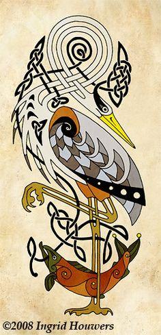 2008 Ingrid Houwers (Irish traditional artist, taxidermist, professional corsetier) ~ The Heron and Salmon via *Illahie