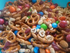 100th Day of School! Have kids count out various cereals, craisins, nuts and candies to 100. Mix it all together and have a one of a kind 100th day snack. Great idea for teachers too
