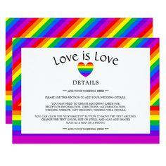 Rainbow Heart Love is Love Wedding Detail Card