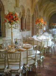 flowers on candelabras