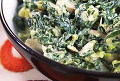 Creamy spinach with mushrooms