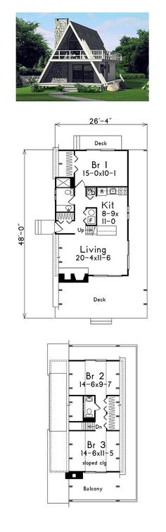 A-Frame House Plan 86950 | Total Living Area: 1272 sq. ft., 3 bedrooms and 1.5 bathrooms. #houseplan #aframe