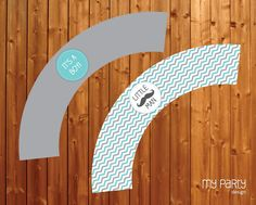 Mustache / Little Man Baby Shower Party - PRINTABLE Cupcake Wrappers boy moustache chevron turquoise grey diy pdf. $5.00, via Etsy.