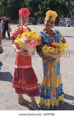 Cuban women in national costume