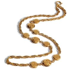 CHANEL VINTAGE JEWELRY Golden Coco Coins Necklace ($2,280) ❤ liked on Polyvore featuring jewelry, necklaces, accessories, chanel, gold, chanel jewelry, chanel necklace, chain necklaces, holiday jewelry and coin jewelry