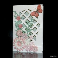"""Today I'll be showing you an example of a Lattice Card, which is basically a card with a window front covered with cardstock """"lattice"""". Th..."""