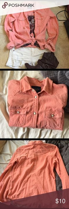 Western inspired button up shirt Super cute salmon colored (color is gorgeous!) western inspired button up shirt. Love the color and shirt but with my light skin tone the color washed me out. Never worn. Size small American Eagle Outfitters Tops Button Down Shirts