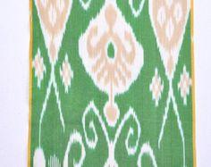 Green Ikat fabric 3 yards- Upholstery Silk/Cotton Hand woven.
