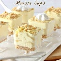 No-Bake Lemon Cheesecake Mousse Cups.  I have the cutest little footed glasses for this.