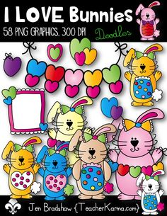 I LOVE Bunnies Clip Art!  These graphics are just perfect for adding to your Valentine's Day or Easter teaching and classroom materials.  TeacherKarma.com
