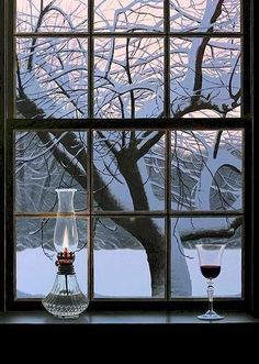 Winter wine through the window