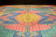 The  crayon carpet, made from 16,000 coloured crayons.