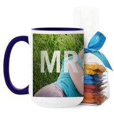 Mr And Mrs Mug, Blue, with Ghirardelli Minis, 15 oz, White