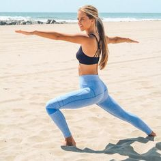 Seamless workout leggings in Blue. 60% Nylon 32% Polyester 8% Spandex. Item No. 71008