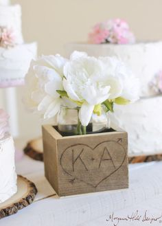 Personalized Planter Box Rustic Chic Wedding Barn by braggingbags