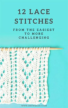 12 Lace Stitches - free knitting e-book download | 10 rows a day