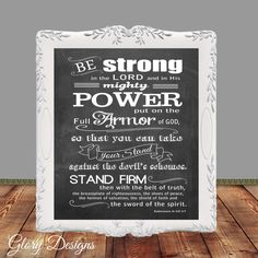 Bible Verse, Bible verse printable,Chalkboard, Scripture Art, Ephesians 6, Armor of God, Be strong and courageous, DYI, Digital Printable