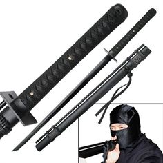 Ninja Sword with Attached Blowgun For Sale   All Ninja Gear: Largest Selection of Ninja Weapons   Throwing Stars   Nunchucks