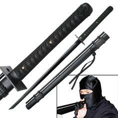 Ninja Sword with Attached Blowgun For Sale | All Ninja Gear: Largest Selection of Ninja Weapons | Throwing Stars | Nunchucks