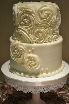 Sweet Cakes By Rebecca Buttercream Wedding Cake With Rosettes And Fondant Wedding Cakes, Buttercream Wedding Cake, Wedding Cakes With Cupcakes, Fondant Cakes, 2 Tier Wedding Cakes, Buttercream Roses, Wedding Cake Pearls, Floral Wedding Cakes, Elegant Wedding Cakes