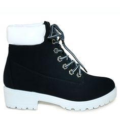 RUBY-FT-1 BLACK/WHITE CUSHIONED COLLAR LACE UP LUG SOLE WORK BOOTS {Buy 1 Get 1 For $1}