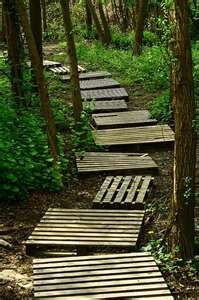 upcycled pallets path/bridge...... with a sign to Ammie & Bubba's house (this will solve the muddy wet section)