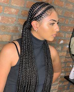 Short Box Braids Hairstyles, Braided Cornrow Hairstyles, Braids Hairstyles Pictures, Braided Hairstyles For Black Women, African Braids Hairstyles, Cool Hairstyles, Cute Cornrows, Cornrow Braid Styles, Hair Ponytail Styles