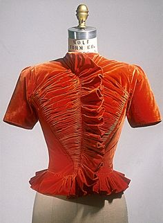 ~Ruched orange silk velvet jacket by Madame Grès (Alix Barton), French, 1939~