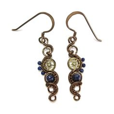 Lapis Lazuli Bronze Woven Steampunk Earrings Steampunk Jewelry ($36) ❤ liked on Polyvore featuring jewelry, earrings, beading earrings, coin jewelry, vintage coin jewelry, vintage jewelry and coin earrings