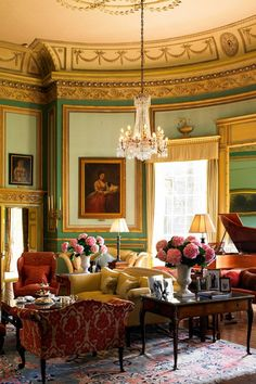 Sitting room at Swinton Park, near Masham, North Yorkshire, England. It currently operates as a 32-bedroom hotel.