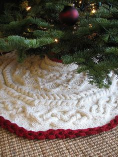 Cable Knitted Pattern Crochet Christmas Tree Skirt for 2015 Christmas - Christmas Craft, Christmas Tree Decor, Jingle Bells Christmas Tree Skirts Patterns, Crochet Christmas Ornaments, Christmas Crochet Patterns, Holiday Crochet, Christmas Knitting, Christmas Skirt, All Things Christmas, Christmas Holidays, Christmas Decorations