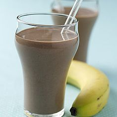 Chocolate-Banana Smoothie Recipe  Ingredients: 3 medium bananas, sliced, frozen, 3/4 cup low-fat vanilla yogurt, 2 tablespoons unsweetened cocoa powder, 1 tablespoon honey, 1/2 cup low-fat milk  Preparation:  Place all ingredients in a blender and blend until smooth. Pour into glasses and serve immediately