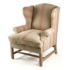 English Armchair Khaki Linen English Club Chair with Red Stripe - Traditional - Armchairs And Accent Chairs - by Kathy Kuo Home Red Accent Chair, Accent Chairs, Plywood Furniture, Furniture Ideas, Funky Furniture, Furniture Redo, Accent Furniture, Cheap Furniture, Luxury Furniture