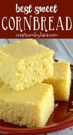 This sweet cornbread recipe is so simple, and it makes the BEST cornbread! It's been a favorite recipe for years. #cornbread #sweetcornbread #easycornbread #cornbreadrecipe #creationsbykara