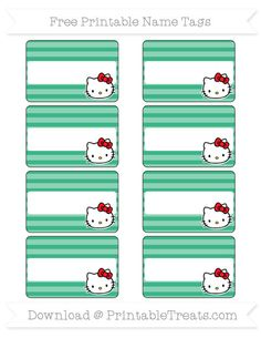 Enjoy this set of cute pastel bubblegum pink horizontal striped Hello Kitty name tags you can use for parties, labeling things, or as gift tags. These fun name tags are decorated with a Nautical Names, Nautical Theme, Azul Tiffany, Tiffany Blue, Pastel Purple, Aqua Blue, Mint Green, Name Tag For School, Printable Name Tags