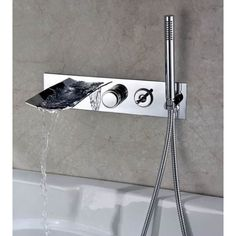 Sumerain International Group Double Handle Wall Mount Waterfall Tub Faucet with Handshower