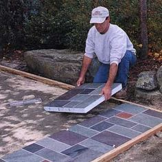Build a beautiful slate patio in hours—not days Diy Patio, Backyard Patio, Patio Ideas, Backyard Ideas, Backyard Retreat, Firepit Ideas, Outdoor Retreat, Patio Kits, Slate Patio