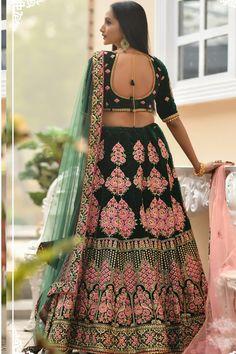 custom made lehenga choli for women heavy embroidery work velvet lehenga with net 2 piece dupatta designer ghagra choli set Rajasthani Lehenga, Indian Bridal Lehenga, Sabyasachi, Lehenga Choli Online, Ghagra Choli, Silk Dupatta, Green Lehenga, Designer Bridal Lehenga, Next Clothes