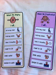 When Im Angry/Frustrated Visual Calming Card- These are great visual cue cards to use with a student while having a tantrum. These are simple steps to help students cope through overwhelming emotions.  The visual pictures next to each step allow students to be able to do it independently.