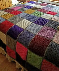 My Stitchin-N-Stuff: November - Diy Crafts Knitted Squares Pattern, Crochet Bedspread Pattern, Crochet Blanket Patterns, Knitting Patterns Free, Baby Knitting, Loom Knitting Blanket, Easy Knit Blanket, Knitted Afghans, Knitted Baby Blankets