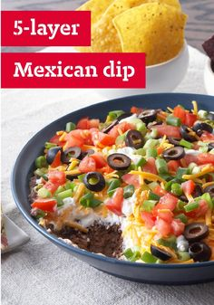 5-Layer Mexican Dip – This dip is so easy to make, the only challenge you'll have is getting all five layers onto your tortilla chip. It takes just 10 minutes to prep this appetizer for the refrigerator. Hosting this year's NYE party? This recipe is a must and sure to please your friends and family!