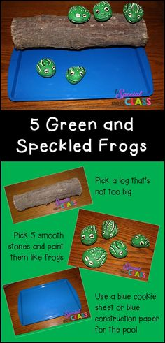 Hands on 5 green and speckled frogs for kindergarten children.