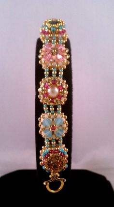 Tutorial for Victorian Antique Slides Beadwoven Bracelet with Swarovski Crystal. $10.00, via Etsy.