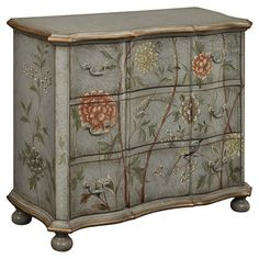 Showcasing a lovely floral motif, bun feet, and a scalloped apron, this charming 3-drawer chest is perfect for stowing linens and throws in the guest room or...