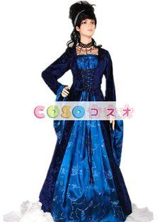 ハロウィン ルネッサンス ドレス ポリエステル中世ブルー前面レース アップ コスチューム コスプレ
