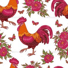 Pattern with Red Rooster