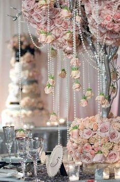 Bridal Pink - pink wedding table devor; pink wedding table centrepiece; pearl drop roses