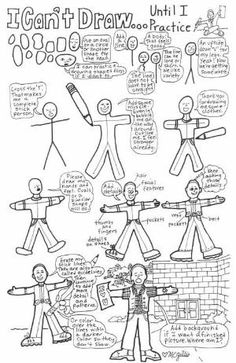 Learn to draw people starting with a stick figure. Good lessons for beginners learning to draw. by emma-q