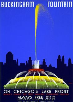 Illustrated by artist John Buczak, this poster shows Buckingham Fountain and the Chicago skyline, circa 1939. Created by the Illinois Federal Art Project the travel poster reads: 'Buckingham Fountain